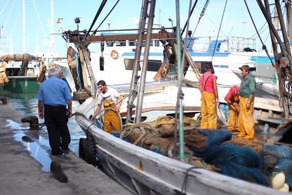 Barco de pescadores en la lonja de Denia