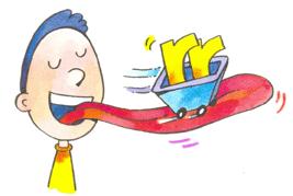 Dibujo de un niño con la lengua y un carro con las letras rr