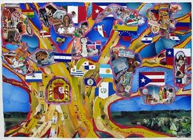 Dibujo de un árbol con las banderas de los países donde se habla español